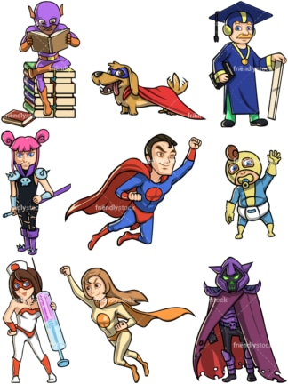 Superheroes and supervillains. PNG - JPG and vector EPS file formats (infinitely scalable).