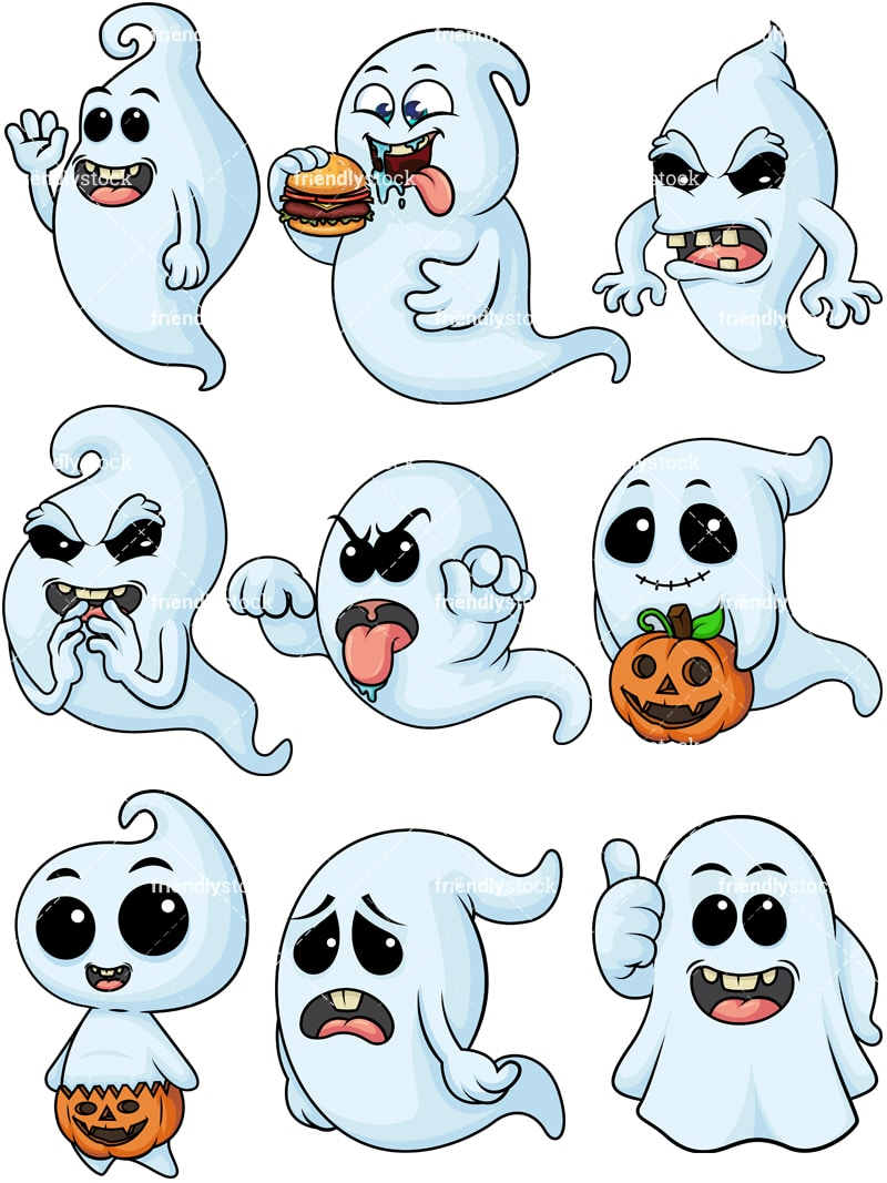 White Ghost Cartoon Vector Clipart Friendlystock