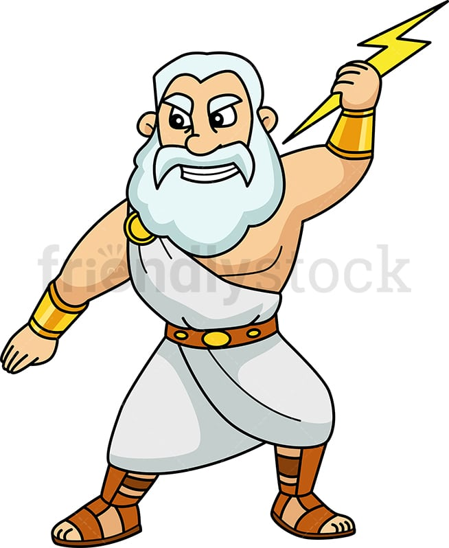 Zeus Holding A Lightning Bolt Cartoon Vector Clipart Friendlystock