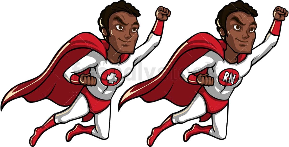 A Black Male Nurse Superhero Flying Like Superman