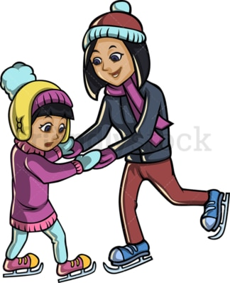 Mother and child ice skating. PNG - JPG and vector EPS file formats (infinitely scalable).