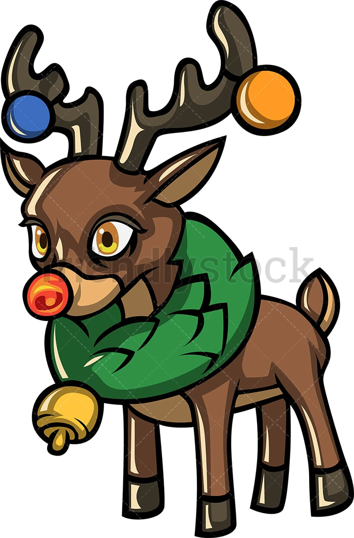 Rudolph The Reindeer Wearing Christmas Ornaments And A Wreath Around His Neck