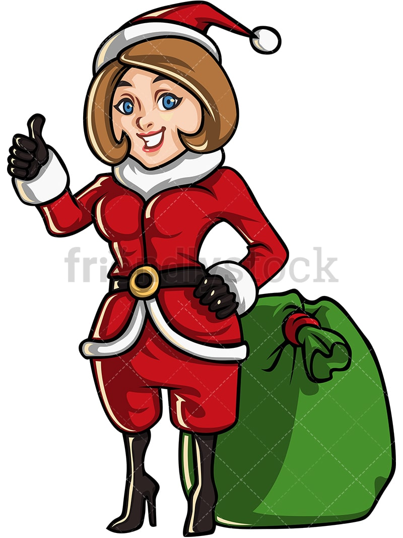 Mother Christmas.Mom Dressed As Santa Claus With A Bag Full Of Christmas Gifts