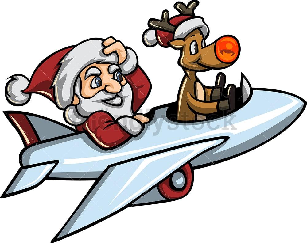 Santa And Rudolph Flying An Airplane Cartoon Vector Clipart