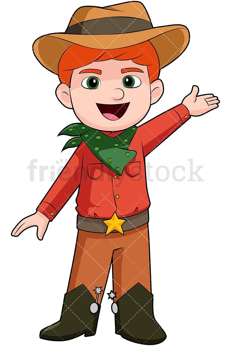 61ad8e87820 Child Wearing Cowboy Costume Cartoon Vector Clipart - FriendlyStock