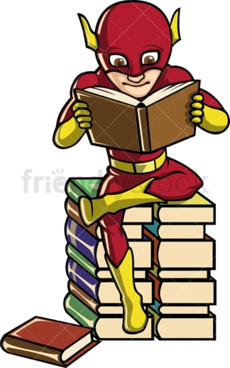 Book lover superhero. PNG - JPG and vector EPS file formats (infinitely scalable). Image isolated on transparent background.