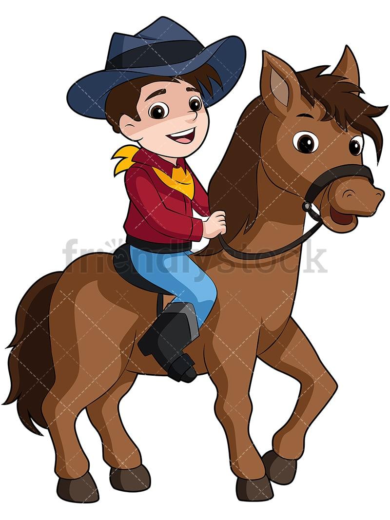 Boy Cowboy Riding Pony Horse Cartoon Vector Clipart - FriendlyStock c7aa3e606bb4