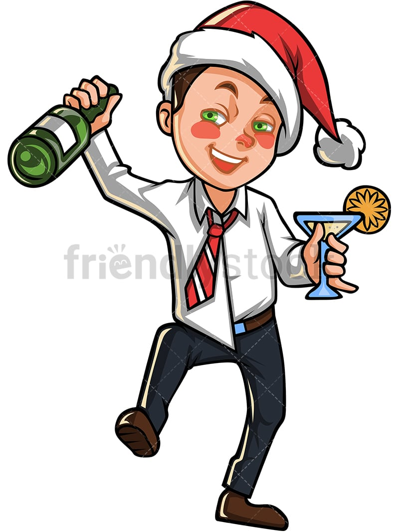 Christmas Party Images Clip Art.A Tipsy Business Man With Christmas Hat Holding A Bottle Of Champagne