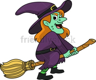 Evil witch on magic broom. PNG - JPG and vector EPS (infinitely scalable).