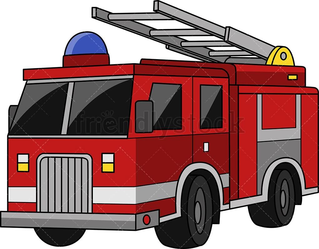 Fire Truck Cartoon Clipart Vector Friendlystock