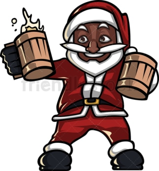 Black santa claus holding beer. PNG - JPG and vector EPS (infinitely scalable).