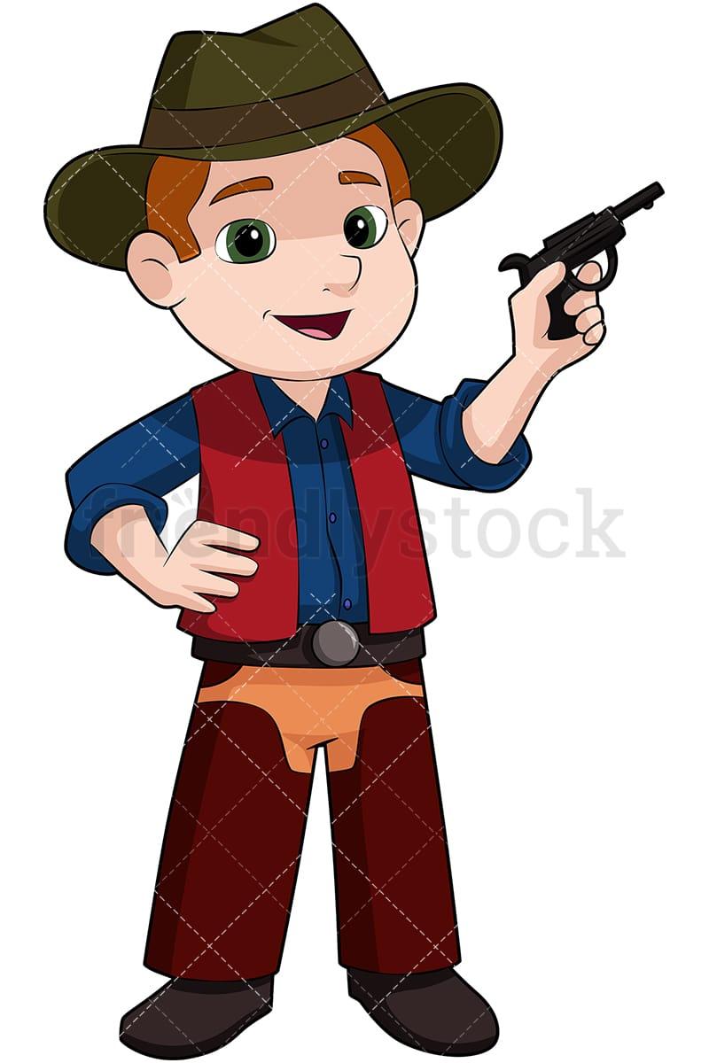 Kid Cowboy With Fake Pistol Cartoon Vector Clipart - FriendlyStock 9ca6cbc9329f