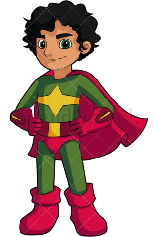Little boy superhero with cape. PNG - JPG and vector EPS (infinitely scalable). Image isolated on transparent background.