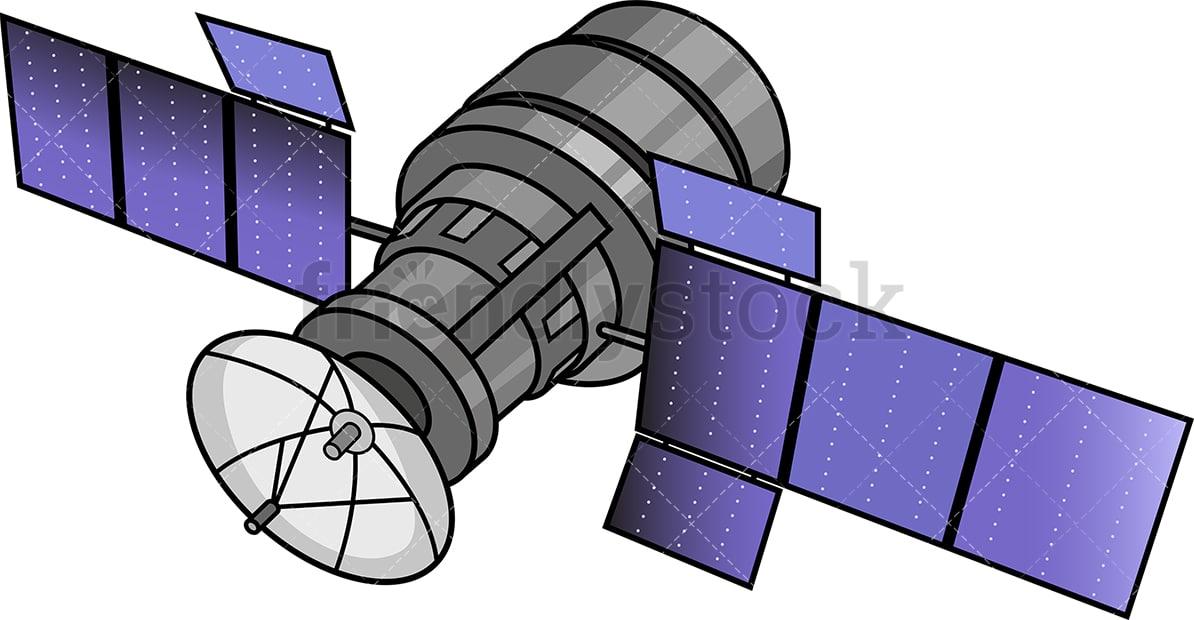 Satellite With Solar Panels Cartoon Clipart Vector Friendlystock