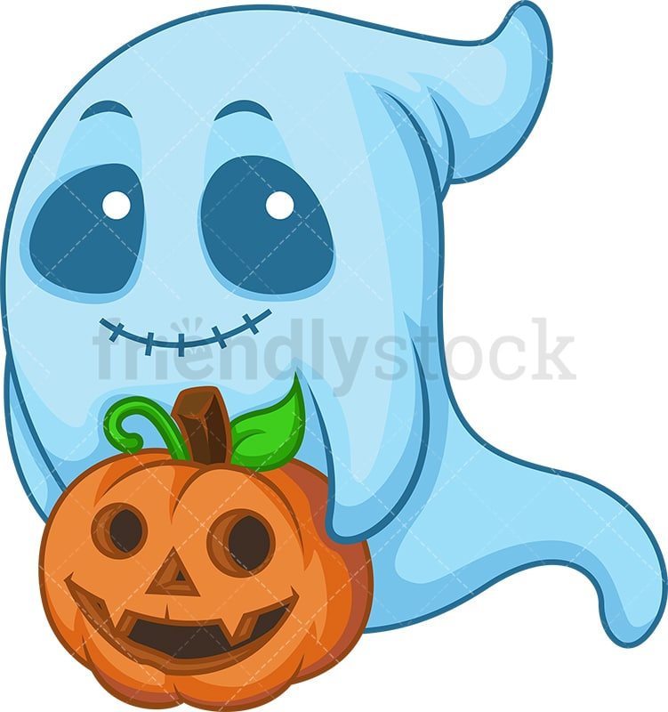 Halloween Pumpkin Cartoon Images.Blue Ghost Carrying Halloween Pumpkin