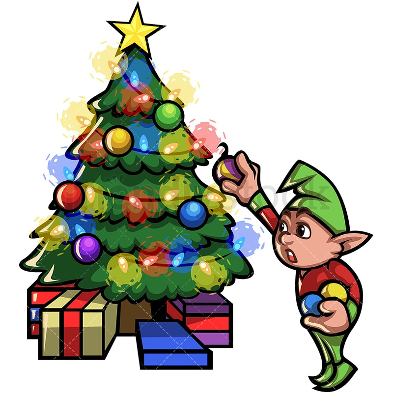 Elf Decorating Christmas Tree. PNG   JPG And Vector EPS File Formats  (infinitely Scalable