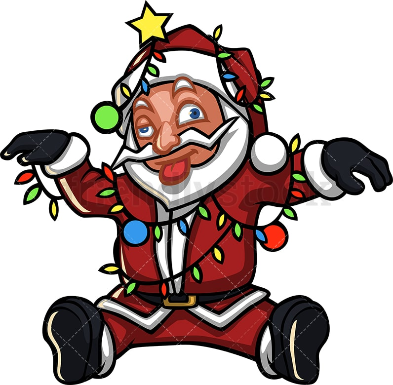 Cartoon Christmas Lights.Dazed Santa Claus Tangled In Christmas Lights