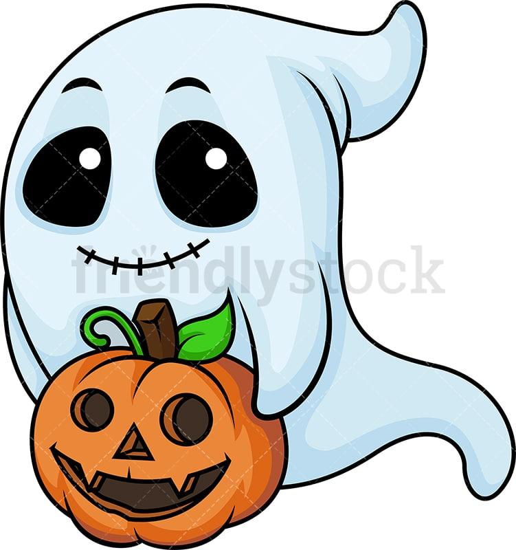 Ghost With Halloween Pumpkin Cartoon Clipart Vector - FriendlyStock