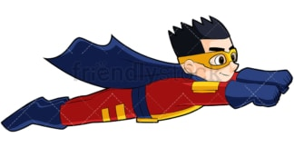 Boy superhero flying like superman. PNG - JPG and vector EPS (infinitely scalable). Image isolated on transparent background.