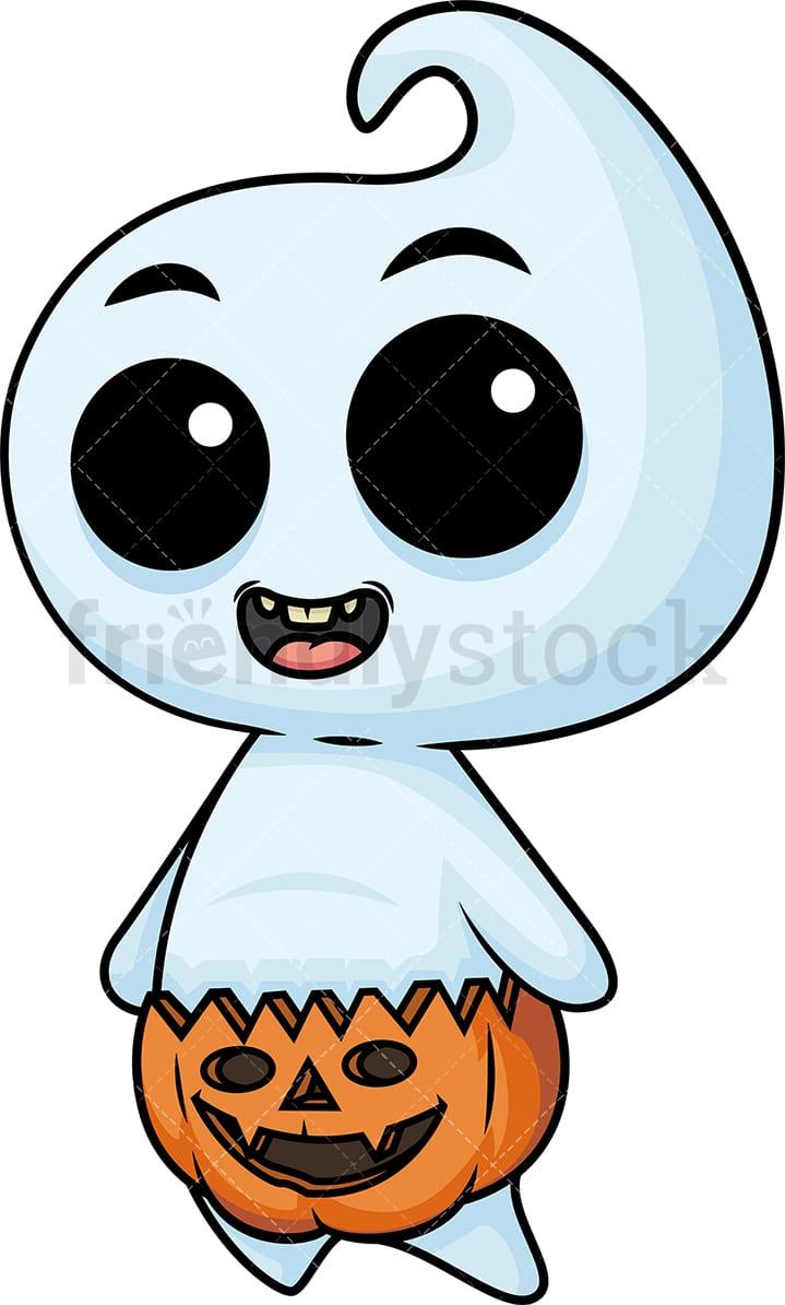 Halloween Pumpkin Cartoon Images.Baby Ghost Wearing Halloween Pumpkin As A Diaper
