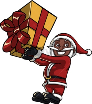 Black santa claus holding a huge gift box. PNG - JPG and vector EPS (infinitely scalable). Image isolated on transparent background.