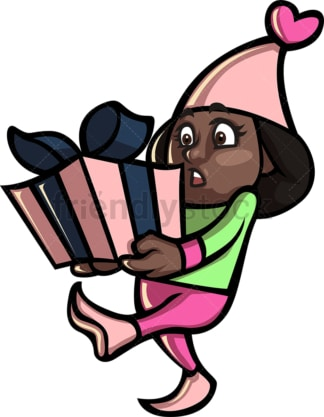 Black girl christmas elf holding present. PNG - JPG and vector EPS file formats (infinitely scalable).