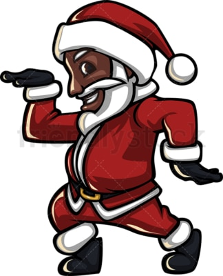 Groovy black santa claus disco dancing. PNG - JPG and vector EPS (infinitely scalable).