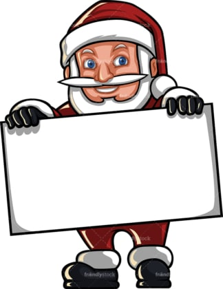 Short santa claus holding blank sign. PNG - JPG and vector EPS (infinitely scalable). Image isolated on transparent background.