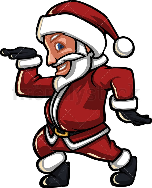 Christmas Disco Clipart.Silly Santa Claus Dancing With Some Disco Moves