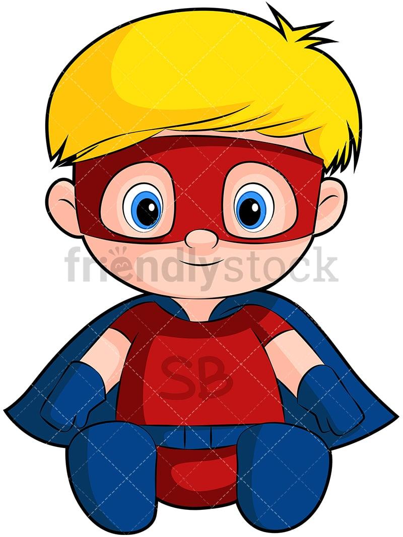 Cute Baby Boy Superhero Cartoon Vector Clipart Friendlystock