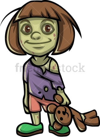 Cute little girl zombie. PNG - JPG and vector EPS (infinitely scalable).