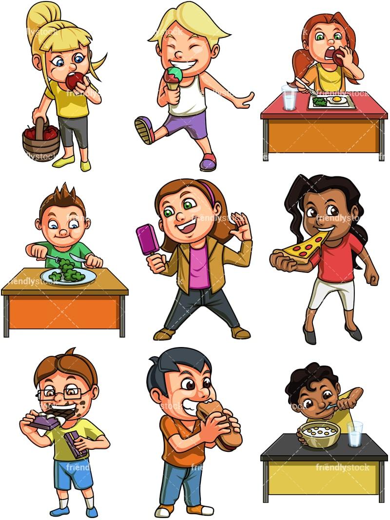 Kids Eating Pizza Clipart - Lizenzfrei - GoGraph