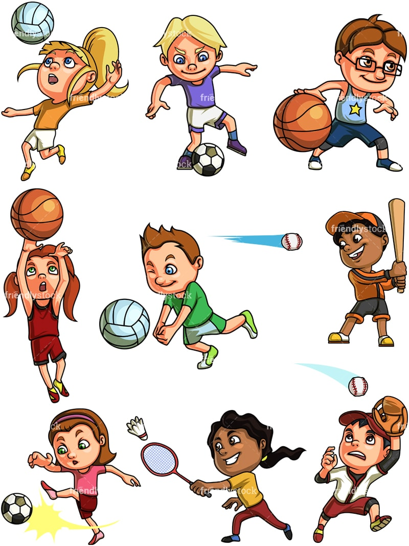 Girls Playing Volleyball on the Beach - Royalty Free Clipart Picture