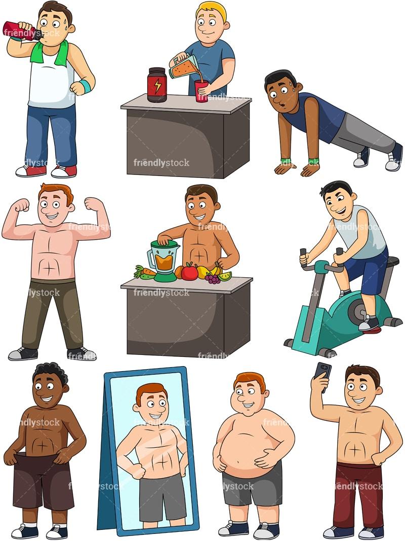 Men Weight Loss Cartoon Clipart Friendlystock