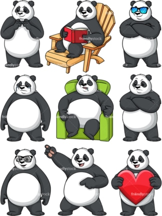 Panda character collection. PNG - JPG and vector EPS file formats (infinitely scalable).