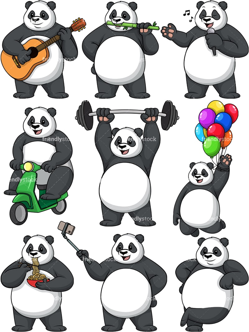 Panda Vector Collection Cartoon Clipart Friendlystock