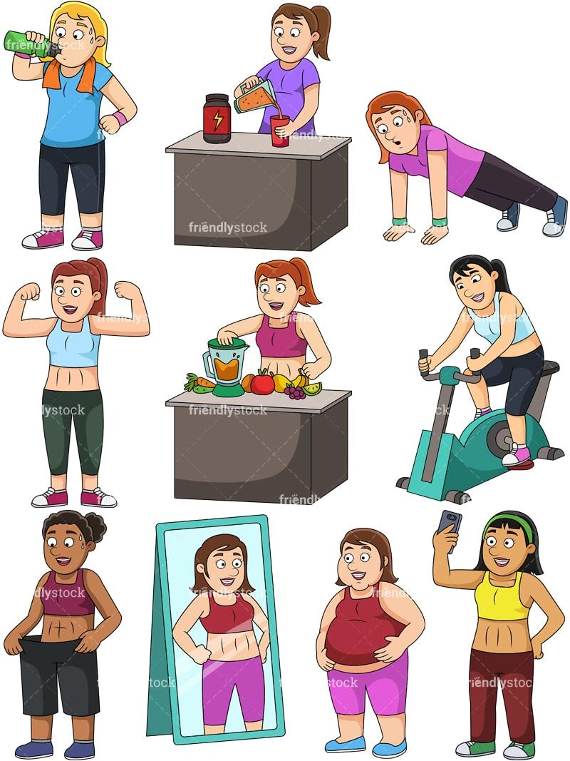 Women Weight Loss Cartoon Vector Clipart Friendlystock