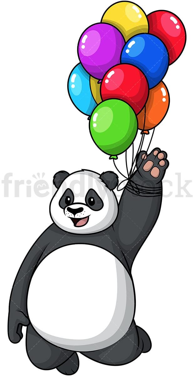 Panda Flying With Balloons Cartoon Clipart Vector Friendlystock