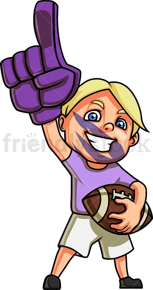 Little Boy American Football Fan