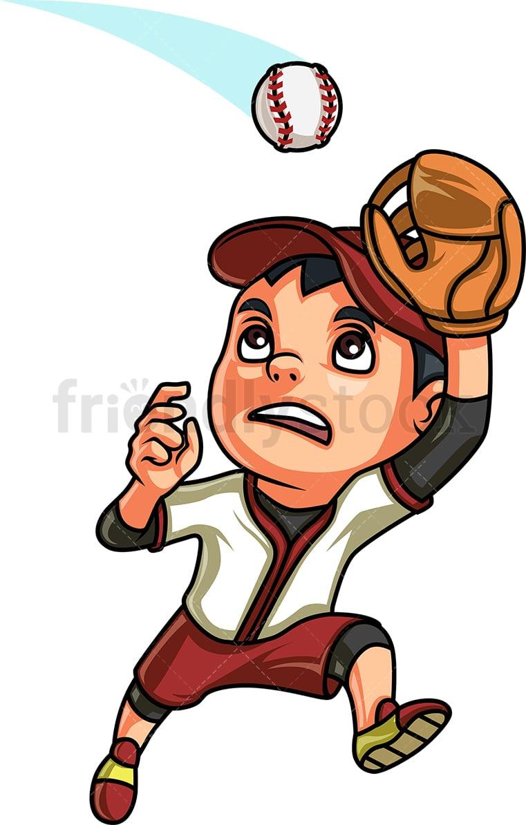 Little boy catching a baseball vector cartoon clipart