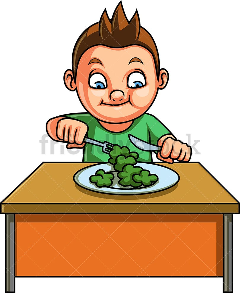 Little Boy Eating Vegetables