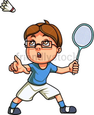 Little boy playing badminton. PNG - JPG and vector EPS (infinitely scalable). Image isolated on transparent background.
