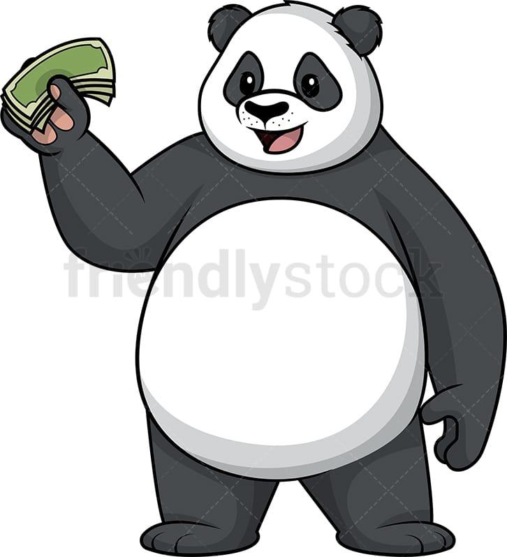 13c38cd034fd57 Panda Holding Money Cartoon Clipart Vector - FriendlyStock