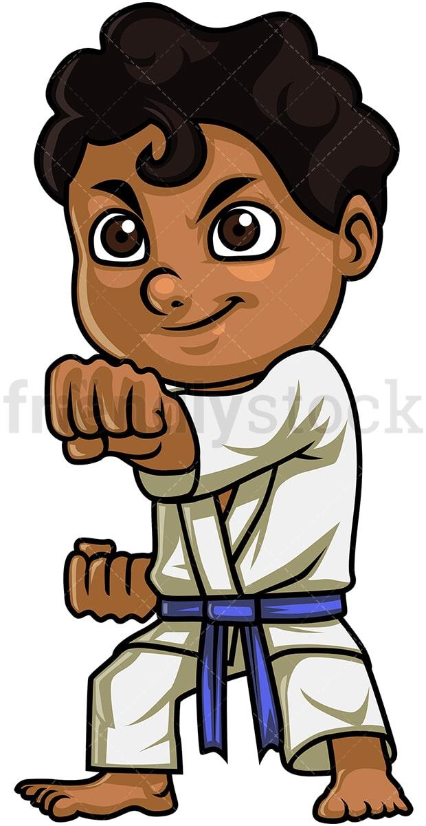 Kid Doing Karate Cartoon Clipart Vector Friendlystock