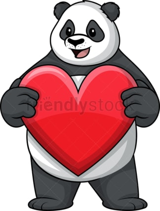 Panda holding heart. PNG - JPG and vector EPS (infinitely scalable).