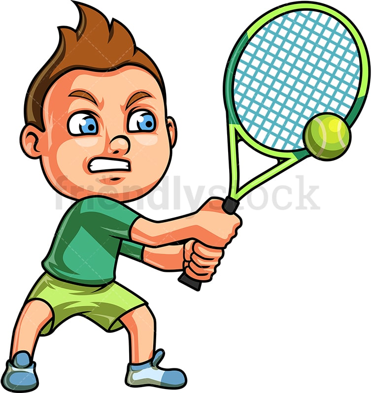 Cartoon Kids Playing Tennis. Vector Clip Art Illustration On.. Royalty Free  Cliparts, Vectors, And Stock Illustration. Image 40830964.