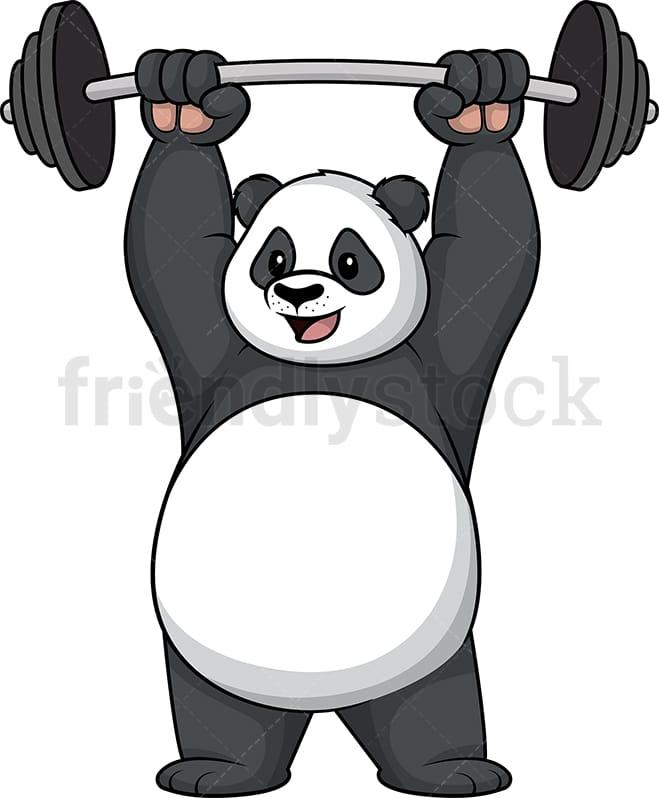 Panda Lifting Weights Cartoon Clipart Vector Friendlystock