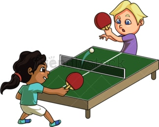 Kids playing table tennis. PNG - JPG and vector EPS (infinitely scalable). Image isolated on transparent background.