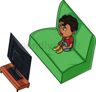 Black boy watching tv. PNG - JPG and vector EPS (infinitely scalable). Image isolated on transparent background.
