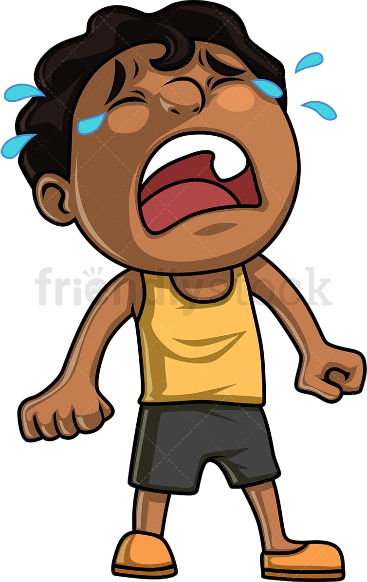 Black Little Boy Crying Hysterically Cartoon Clipart Vector